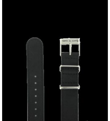 Bracelet cuir véritable Nato 18mm Boucle chromée - 150567