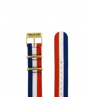 Bracelet textile nato, boucle dorée, 18mm 150610
