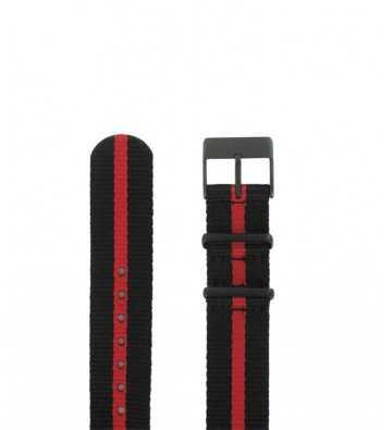 bracelet de montre en textile façon nato de 18 mm de largeur noire et rouge en ligne avec boucle ardillon noire