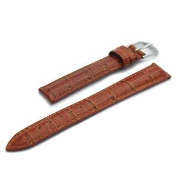 Bracelet pour montre en cuir façon croco marron - 502125xx et 2 boucles ardillon l'une dorée et l'autre chromée