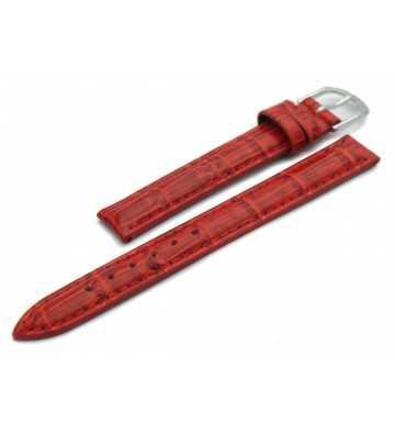 Bracelet pour montre  en cuir façon croco rouge - avec boucles ardillon chromée ou dorée 502122xx