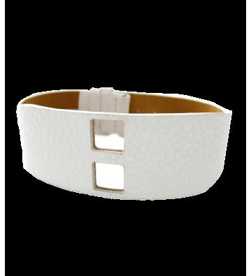Bracelet cuir blanc grainé...