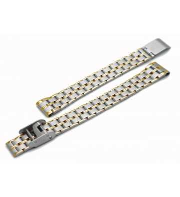 Bracelet en métal acier bicolore poli avec une boucle coulissante.- 5031188xx